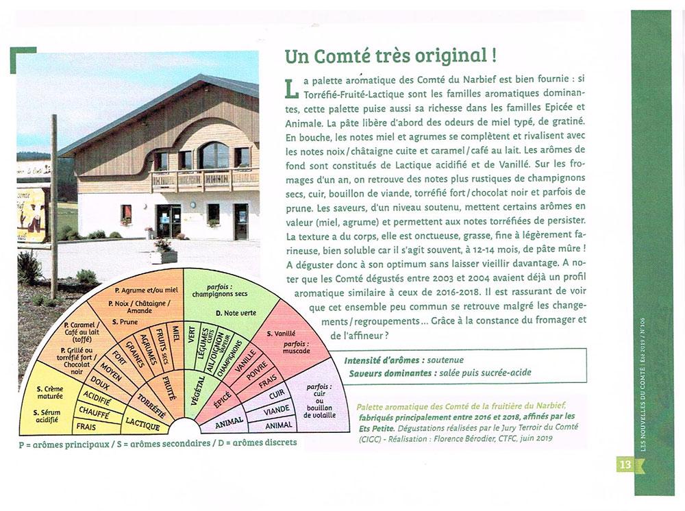 Article du magazine LES NOUVELLES DU COMTÉ - Fromagerie Narbief